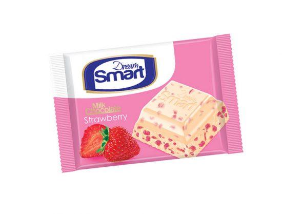 شکلات سفید با تکه های توت فرنگی و طعم خامه دریم اسمارت شیرین عسل 50 گرمی