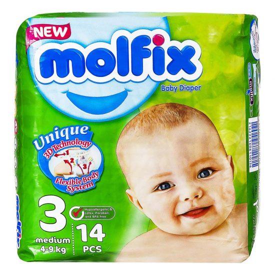 پوشک کامل بچه سایز 3 (4 تا 9 کیلو گرم) 14 عددی مولفیکس