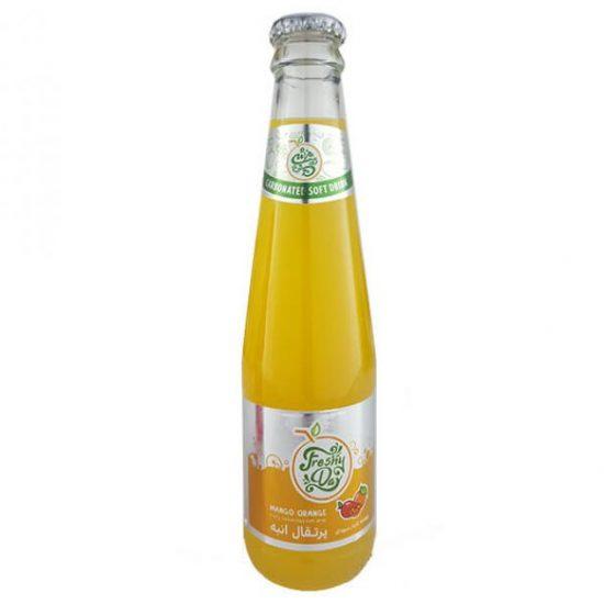 نوشیدنی شیشه ای گازدار پرتقال انبه فرش دی