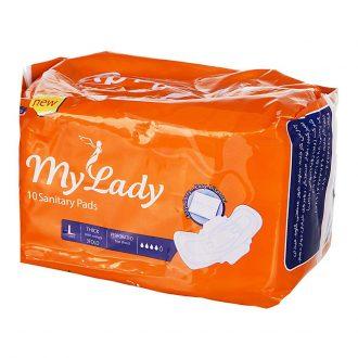 نوار بهداشتی نارنجی سه تا شده بالدار ضخیم بزرگ با لایه مشبک مای لیدی 10 عددی